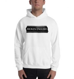 Classic Broken English white hoodie being modeled
